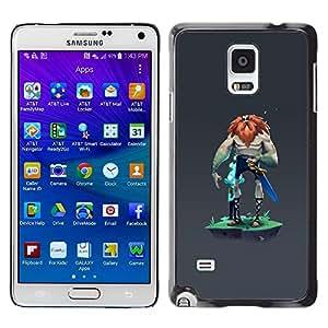 FlareStar Colour Printing Viking Mysterious Grey Character Man cáscara Funda Case Caso de plástico para Samsung Galaxy Note 4 IV / SM-N910F / SM-N910K / SM-N910C / SM-N910W8 / SM-N910U / SM-N910G