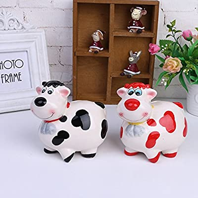 ZCHING Cute Cow Ceramic Piggy Bank Personalized Money Saving Bank for Kids Girls Boy Nursery Gift: Toys & Games