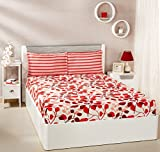 Solimo Leafy Spring 144 TC 100% Cotton Double Bedsheet with 2 Pillow Covers, Red