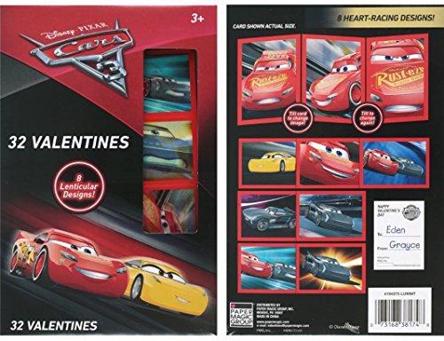 Disney's PIXAR Cars 3 Valentines 8 Lenticular Designs- 32 Valentines Cards