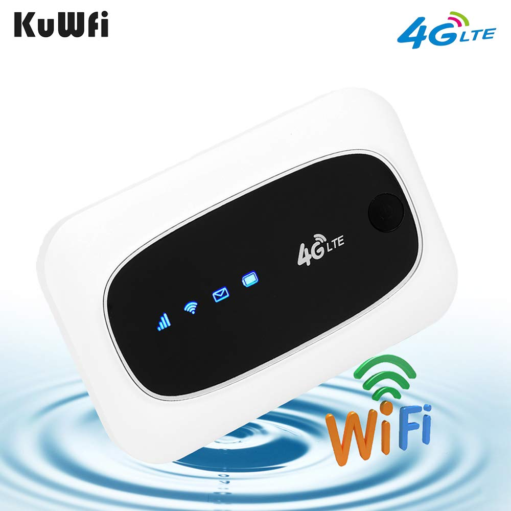 KuWFi 4G LTE Mobile WiFi Hotspot Travel Router Partner Wireless SIM Routers with SD SIM Card Slot Support LTE FDD/TDD Work for USA/CA/MX Europe Africa Asia Oceania Almost Universal by KuWFi
