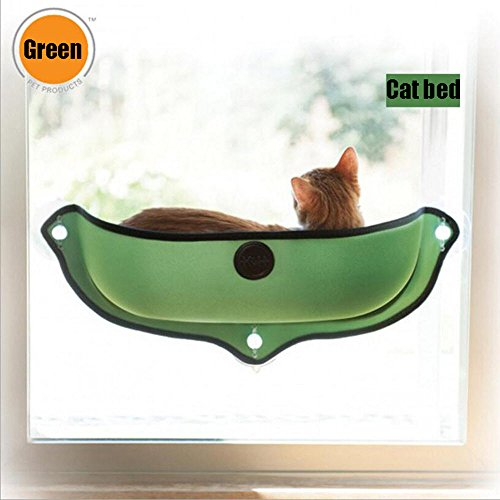 Brown Sugar Removable Cat Window Bed Sunbathing Window Mounted Hammock Lounger Perch Cushion Hanging Shelf (Green) -