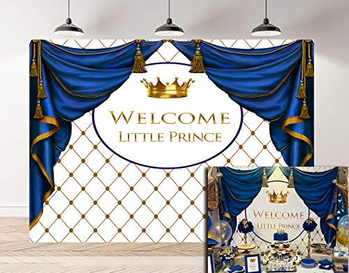 BoTong 7x5FT Royal Prince Baby Shower Theme Photography Backdrop Golden Crown Rhombus Background Photo Baby Little Boy Shower Party Bule Curtain Banner Supplies Decoration