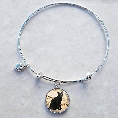 (Black Cat Sterling Silver Expandable Wire Bangle Charm Bracelet)