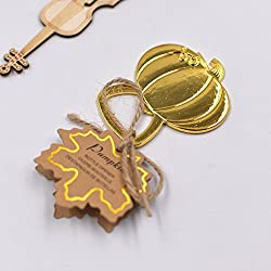20 PCS Bottle Openers Gold Wedding Favors Decorations, Pumpkin Shaped, Kraft Paper Label Card Tag, Party Supplies