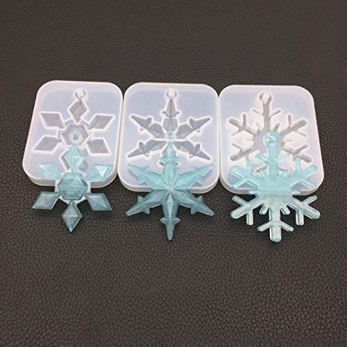 Diamond Set Snowflake - Welcome to Joyful Home 3pcs/Set Snowflake with Hole Diamond Casting Mold Silicon Mould Resin Jewelry Making DIY Craft