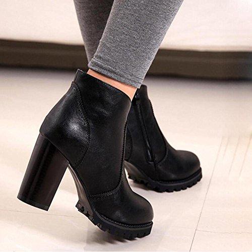 Gruesa Botas Cabeza Impermeable Zapatos De Con Black Botas TacóN Invierno alto OtoñO Y Grueso YC Redondas L De Una Mujer vx5WB1