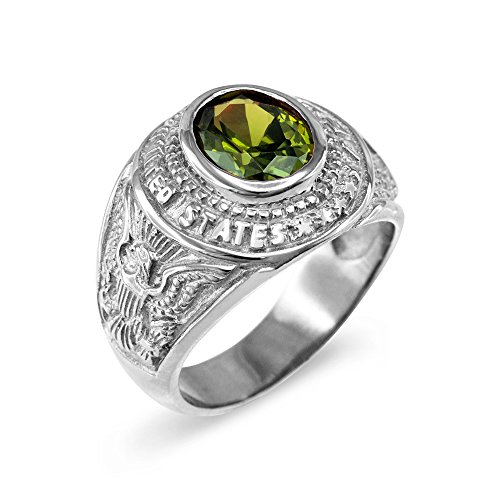 Army Solid Ring (August CZ Birthstone US Army Men's Ring in Solid 925 Sterling Silver (Size 6))