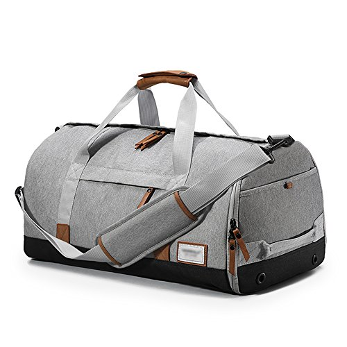 URBANATURE - Water Resistant Gym Bag Duffle Bag Weekend Bag ( Shoes' Pouch Removable ) (Grey) by URBANATURE