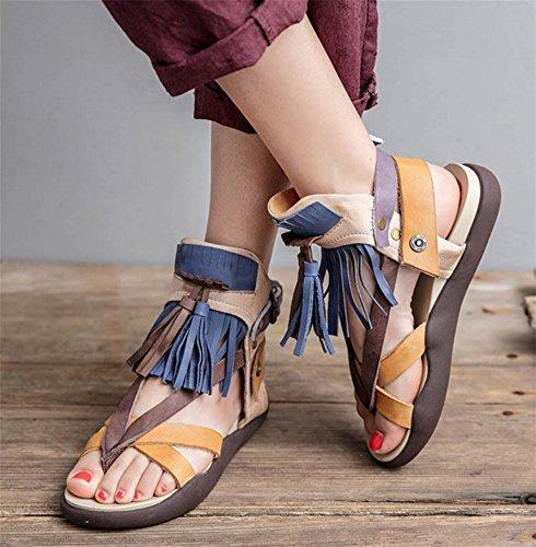 xie Chaussures pour femmes en cuir à la main chaussures mixte couleur frange clip orteil sandales d'été en cuir de vachette sandales 35-39 o8u5c7