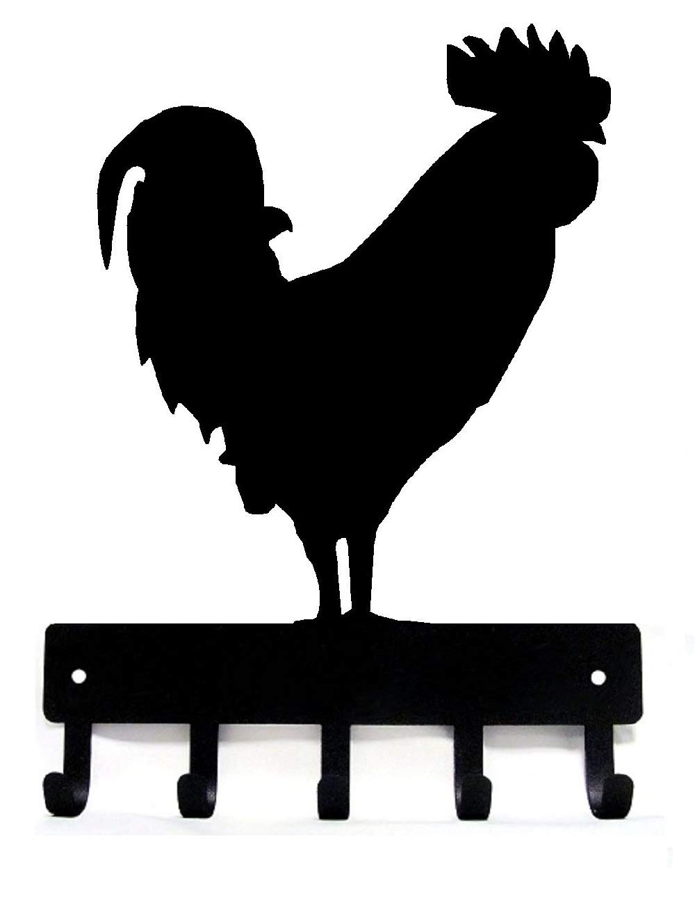 The Metal Peddler Rooster #02 Farm Key Rack - Small 6 inch Wide