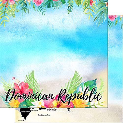 Scrapbook Customs 39191 Dominican Republic Getaway 12 Inch x 12 Inch Double-Sided Scrapbook Paper - 1 Sheet (Dominican Republic Scrapbooking)