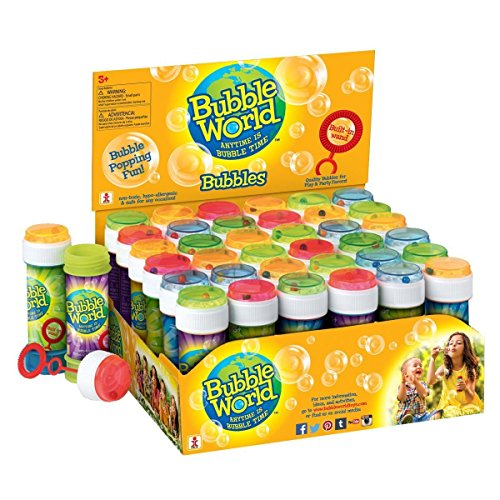 Bubble World Fun Bubble Bottles (36 Pack) Bubbles for Kids – Non-Toxic Bubbles with Built-in Wand for Mess-Free Play! ()