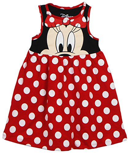 Disney Toddler Girls Minnie Face Dress, Red Polka Dot 4T -