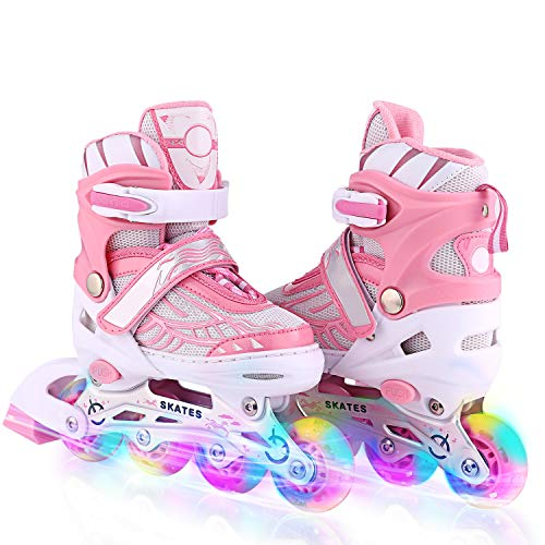Unisex Kids Adjustable Inline Skates with Light up Illuminating Wheels Rollerblade Outdoor Skating Roller Skates for Girls Boys, Men Ladies (Pink, US ()