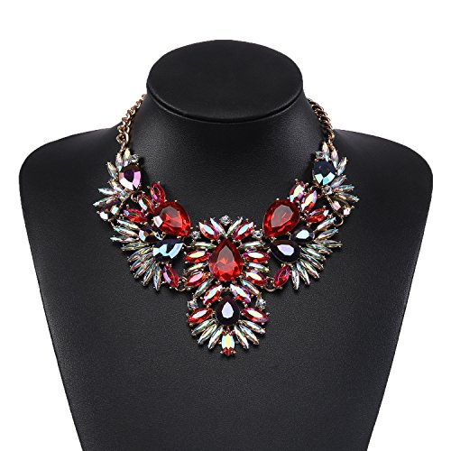 Fashinon Bib Necklace Chain in Red Glass Beads & Crystal with Holylove Gift Box- HLN00021 Red (Drag Queen Jewelry)