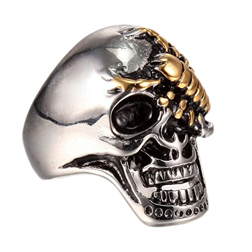 Gothic Punk 316L Stainless Steel Skull Scorpion Poison Finger Jewelry Ring Jewelry