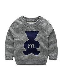 SPRMAG Boys Crew Neck Knit Cartoon Animals Christmas Sweater Pullover