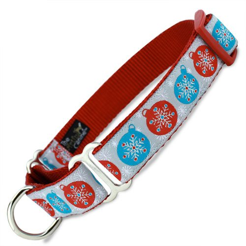 Holiday Martingale Collar with Snowflakes & Christmas Ornaments