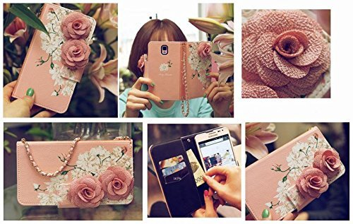 3D Rose FLOWER Beautiful Cute Camellia Handbag Leather Wallet Card Strap Case Cover For ZTE GRAND X MAX Z987 + MAX plus