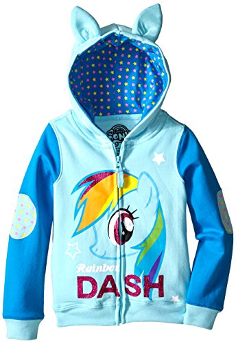 Rainbow Dash Costume Toddler (My Little Pony Little Girls' Rainbow Dash Hoodie, Light Blue/Blue, 4)