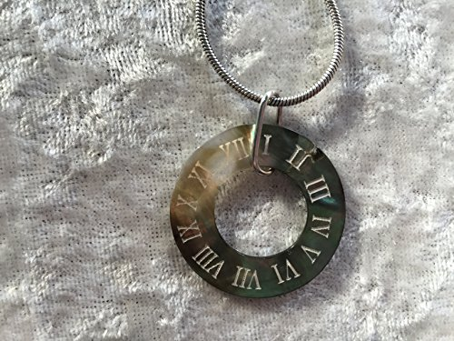 natural black lip shell clock pendant on adjustable necklace