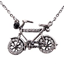 Women's Fashion Bicycle Pendant Necklace w/ Rhinestone Accents