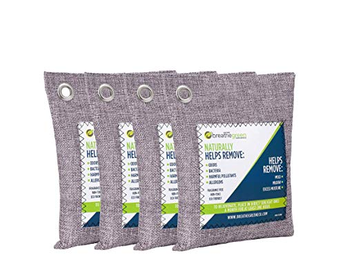 Breathe Green Charcoal Air Purifying Bag (4-Pack) | Activated Bamboo Charcoal Odor Absorber | Natural Air Freshener Helps Remove Odors and Moisture | Odor Eliminator for Car, Closet, Bathroom, RV