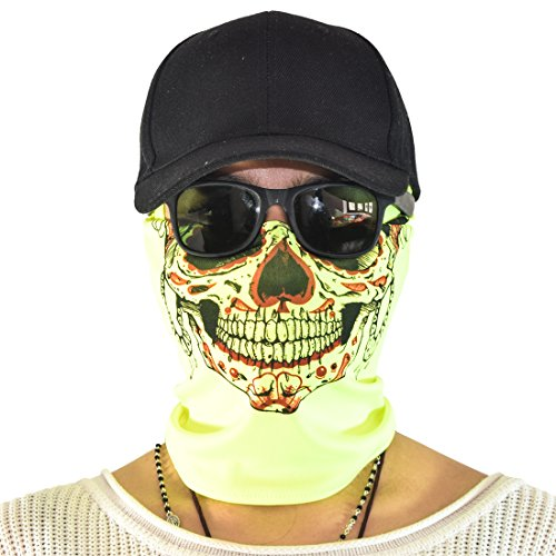 Maskies by Santa Playa, Fun Breathable Face Mask for Biking, Hiking, Running, Outdoors, Festivals, Partying :: Skull Frida (Neon Green) - Cute Quick Costume Ideas