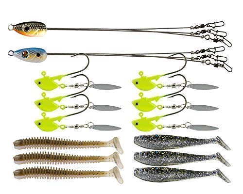 Alabama Rig Umbrella for Bass Fishing Kit with Willow Bladed Spin Jig Heads Freshwater Salwater Trout Stripers Lures 3 Arms