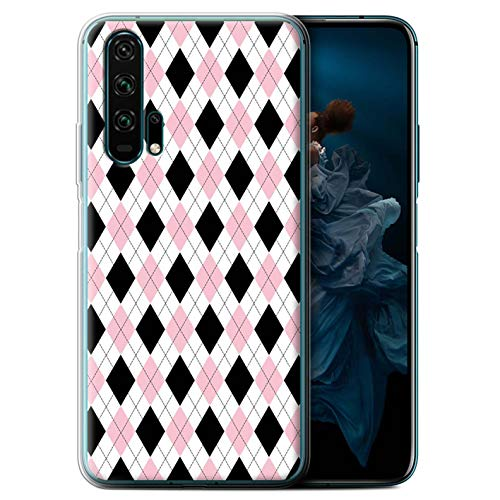 (eSwish Gel TPU Phone Case/Cover for Huawei Honor 20 Pro/Pink Argyle Design/Winter Fashion Collection)