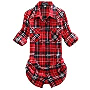 Amazon Lightning Deal 86% claimed: OCHENTA Women's Mid-Long Style Roll-Up Sleeve Plaid Shirt