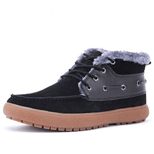 Men's Winter Frosted Lace up Warm Leather Tall Flat Snow Boots