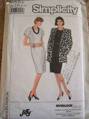 - MISSES/MISS PETITE DRESS AND UNLINED JACKET SIZE 6-8-10-12-14 SIMPLICITY JIFFY SEWING PATTERN #9552 - SUITABLE FOR SERGER SEWING