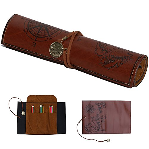 Mountain Victor Pencil Pouch Vintage Pencil Case with Pirate Pattern Cool Treasure Map Pencil Box PU Leather Pencil Bag for School Office Travel and Drawing