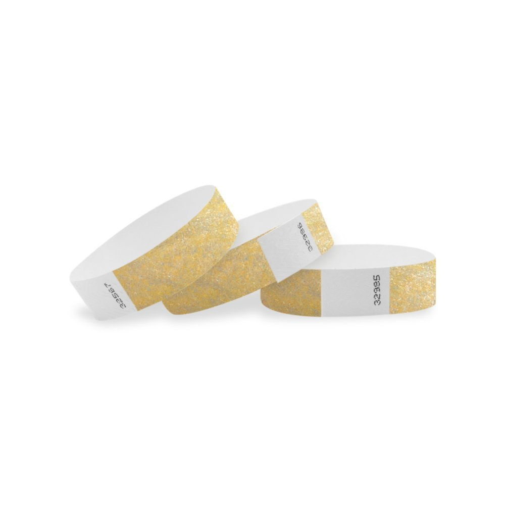WristCo Metallic Gold 3/4 Tyvek Wristbands - 100 Pack Paper Wristbands for Events