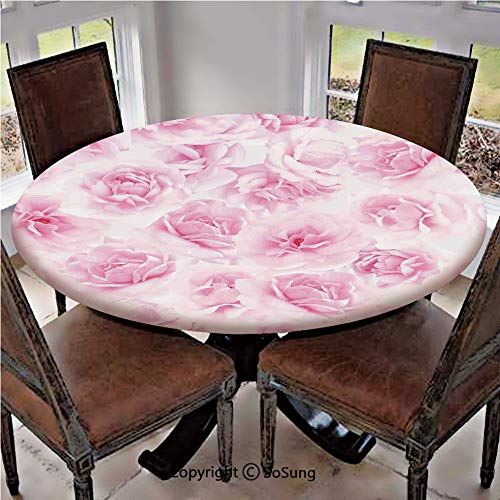 Elastic Edged Polyester Fitted Table Cover,Plenty of Roses Passion Sentiment Concept Affection Emotions Admiration Artistic Work,Fits up 45