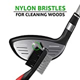 STIXX-Golf-Brush-and-Groove-Cleaner-with-Retractable-Clip-Extends-2-Ft-Brass-Nylon-and-Spike-Cleaning-Tool