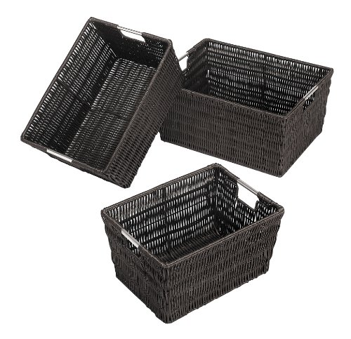 Whitmor Rattique Storage Baskets Set of 3 Espresso