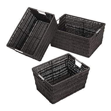 Whitmor Rattique Storage Baskets, Set of 3, Espresso