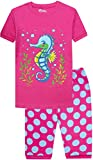 shelry Little Girls Sea Horse Pajamas Kids School Pjs Day Children Cotton Cartoon Clothes Size 4 Years