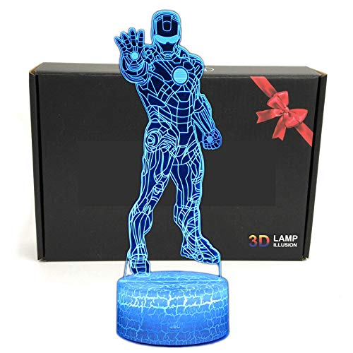 LED Superhero 3D Optical Illusion Smart 7 Colors Night Light Table Lamp with USB Power Cable (Iron Man)]()