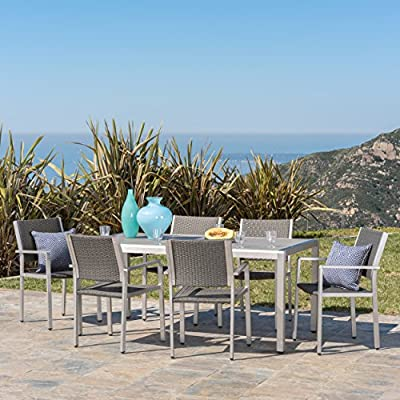 "Christopher Knight Home Coral Bay Outdoor 7Pc Grey Aluminum Dining Set w/Glass Table Top - Dine in class and style and seat up to 6 people at this sleek modern dining set. Its clean lines and sturdy build will lend themselves to any lifestyle in your outdoor space. Includes: Six (6) Chairs and One (1) Table Table Dimensions: 35.25""D x 70.75""W x 30""H 