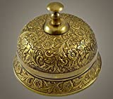 Brass Nautical 5.5 inch Dia Ornate Solid Brass Hotel Counter Bell - Made of Solid Brass