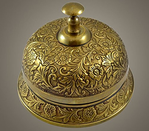 Brass Nautical 5.5 inch Dia Ornate Solid Brass Hotel Counter Bell - Made of Solid Brass by Brass Nautical
