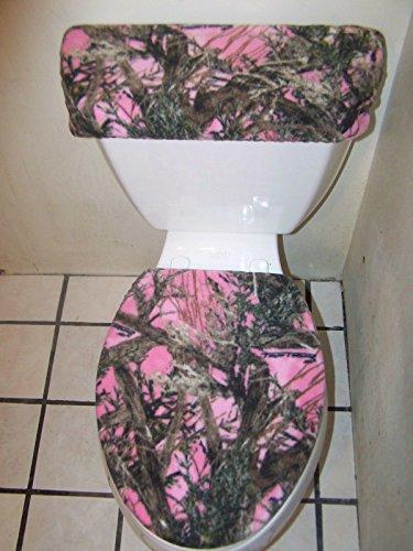 (Bathroom Fleece Toilet Seat Lid and Tank Lid Cover Set*PINK MOSSY OAK CAMO *)