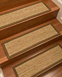 Natural Area Rugs 100% Natural Fiber Half Panama, Seagrass Sage, Handmade Stair Treads Carpet Set of 13 (9''x29'') Malt Border