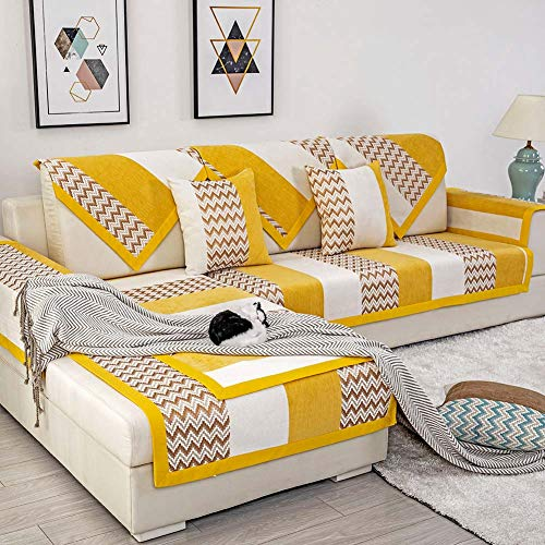 Deep Dream Sectional Sofa Covers, Chenille Sofa Slipcover Furniture Protector Anti-Slip Couch Covers for Dogs Cats Kids 36 x 82 Inch - Yellow (Sold by Piece/Not All Set) (Yellow Sectional Couch)