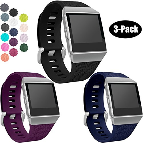 Wepro Fitbit Ionic Watch Band, Bands Replacement Sport Strap Accessory for Fitbit Ionic Smartwatch, Large, Black, Plum, Blue