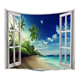 XINYI Home Wall Hanging Nature Art Polyester Fabric Coast Beach Theme Tapestry, Wall Decor For Dorm Room, Bedroom, Living Room, Nail Included - 80''W x 60''L (200cmx150cm) - The Beach Out Of The Window